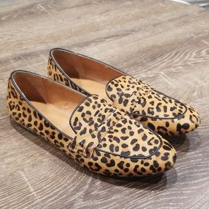 J.Crew leather leopard calf hair loafers size 10